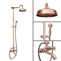 Red Antique Copper Wall Mounted Bathroom Rain Shower Head Handshower Head Rainfall Shower Faucet Set Tub Mixer Tap arg602