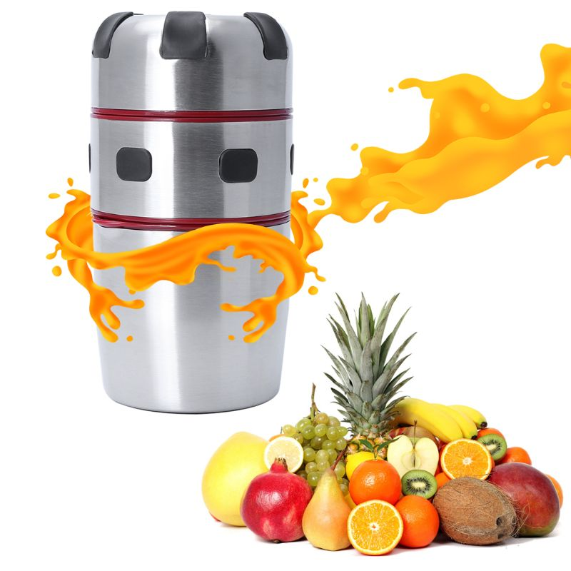 Powerful Stainless Steel Manual Citrus Juicer Orange Lemon Fruit Lid Rotation Squeezer Portable Juice Extractor Cup Kitchen Tool