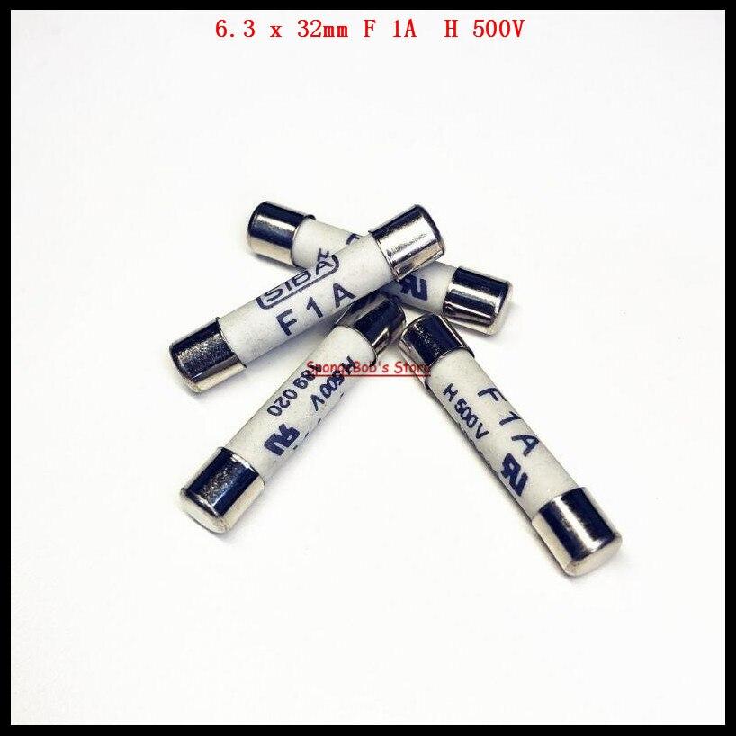 32V AUTOMOTIVE FUSES 32MM X 6.3 GLASS FUSES 10 x 1AMP