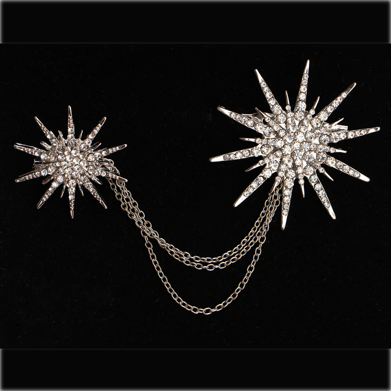 Hesiod Fashion Women Brooch Crystal Charm Star Sparking Chain Brooches Lady Dress Decoration Wholesale 3