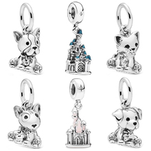Couqcy Simple Style Carved Dog Castle Butterfly Crystal Beads Fit Original Pandora Charm Bracelets Women DIY Making Jewelry