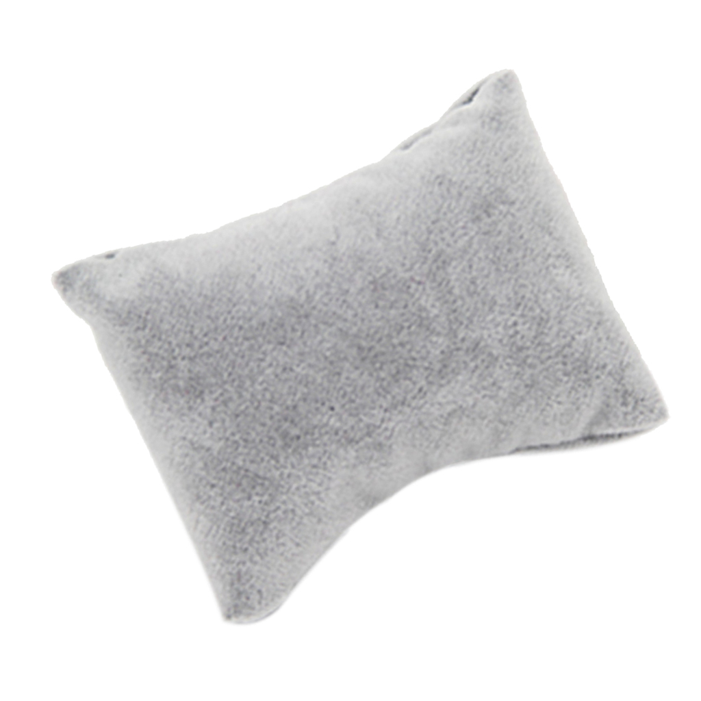 5pcs Gray Velvet Pillow Bracelet Watch Bangle Jewelry Display Stand Set