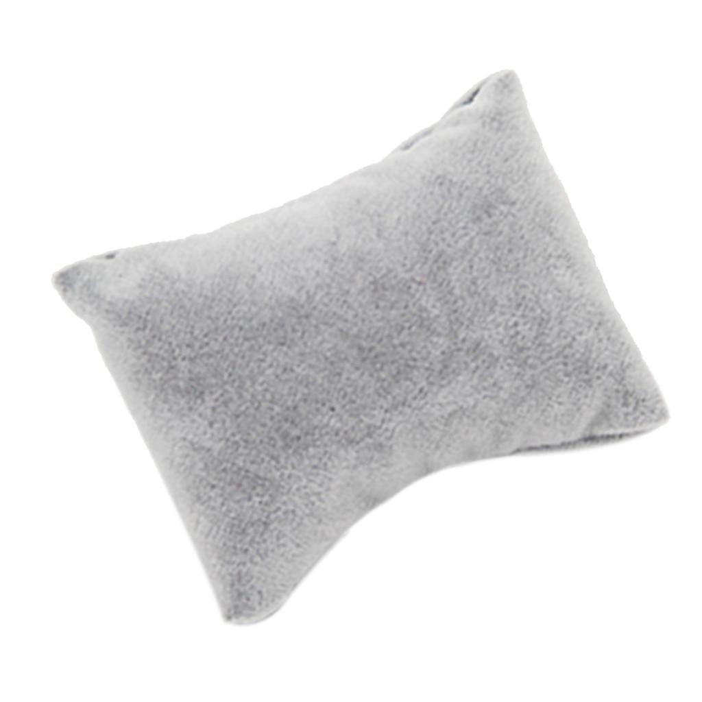 5pcs Gray Velvet Pillow Bracelet Watch Bangle Jewelry Display Stand Set
