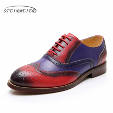 Yinzo Women Genuine Leather Flats Oxford Shoes Woman Sneakers Lady Brogues Vintage Casual For 2019 red brown