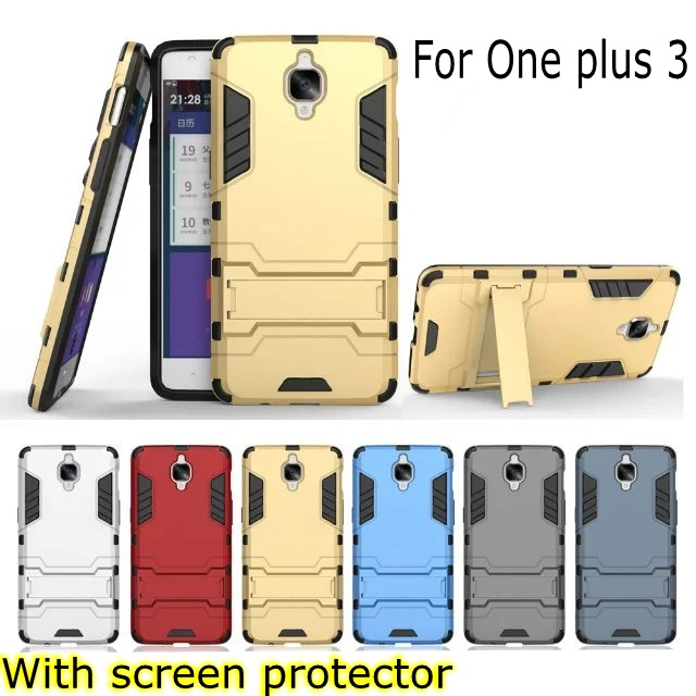 Fashion Armor 2 in 1 metal plating plastic hard Kickstand Combo case cover for OnePlus 3 ONE plus 3 oneplus3 With screen film