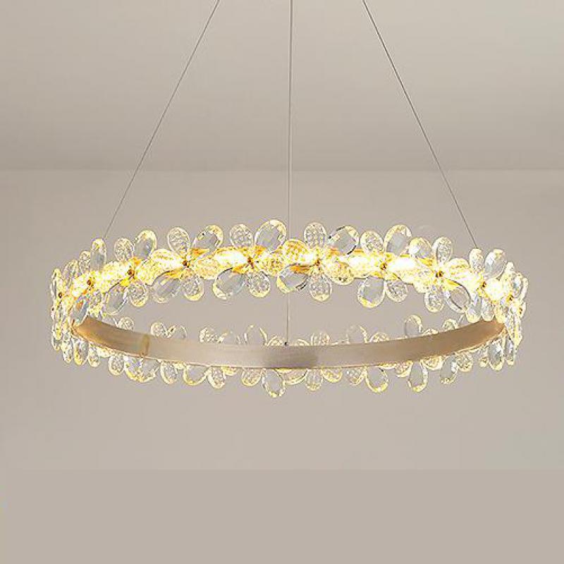 Прихожая круглый светодиодный Корона подвесной светильник золото кольцо прозрачная Подвесная лампа для обеденная led люстра модерн офис ос