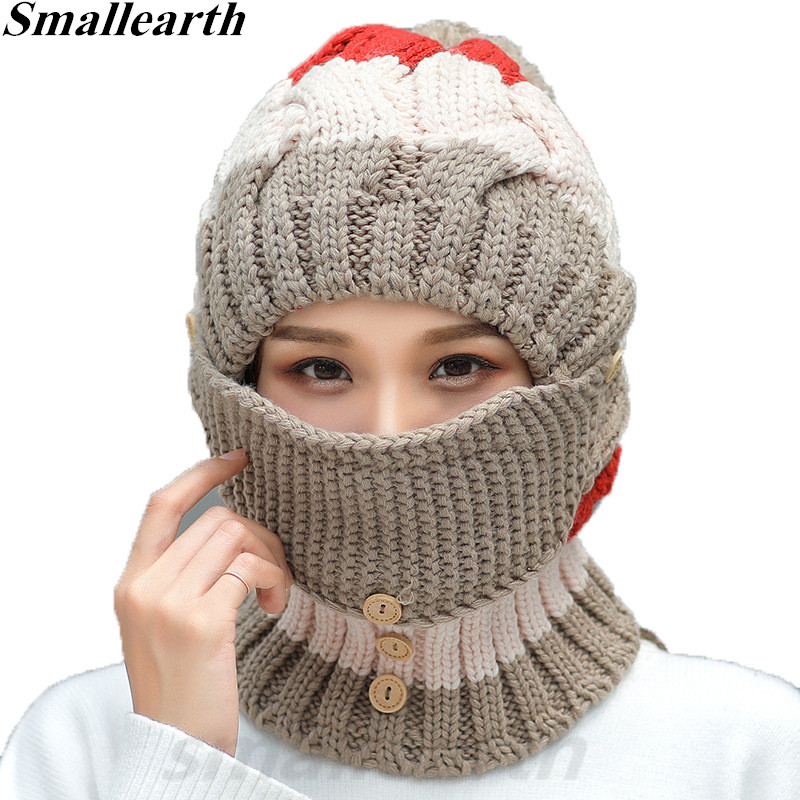 2018 New Knitted Winter Plush Hat Scarf Set Women Thick Cotton Pompom Beanies Collar Scarf Female Masks Hat Sets Accessories