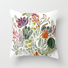 Throw Pillow Case Succulent Plants Printed Cushion Cover for Couch Sofa Bed DC112(China)