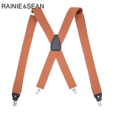 RAINIE SEAN Men Suspenders For Shirt Brown Leather 120cm 4 Clips Trouser Straps X Back Wedding Vintage Male Belt