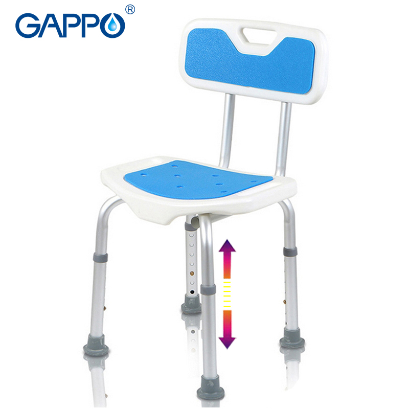 GAPPO Wall Mounted Shower Seats Adjustable Height Bathroom Shower Safety Chair Bathroom Safety Bench Bath Seat