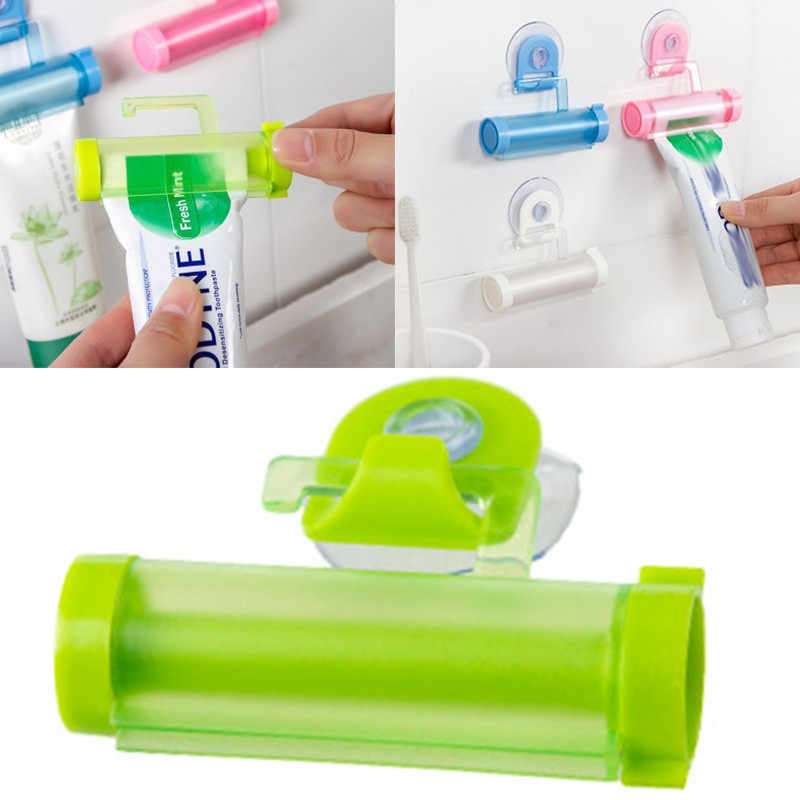 1pcRolling Squeezer Toothpaste Dispenser Tube Sucker Hanging Holder ABS Sucker Multi-color Submarine Creative Shape Random Color