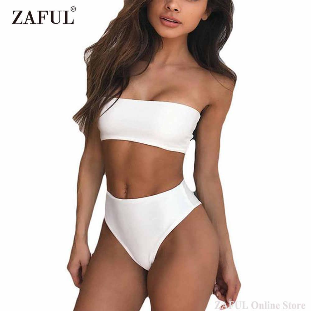 41a6cb1aa2b2 ZAFUL 2019 Women Solid Strapless Bandeau Cut High Waist Sexy Bikini Set  Swimwear Bathing Suit Swimsuit