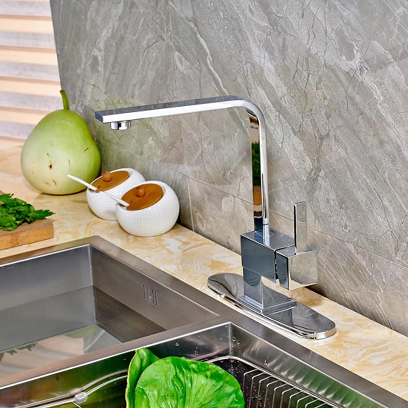 Contemporary Chrome Countertop Kitchen Sink Faucet Swivel Spout Mixer Tap with Cover Plate kohler finial® traditional kitchen sink faucet with 9 3 16 inch spout reach
