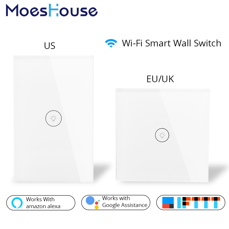 Wifi Smart Wall Switch US EU UK Power Plug Mobile APP Remote Control Works with Amazon Alexa Google Home for Smart Life wifi smart wall touch switch glass panel mobile app remote control no hub required work with amazon alexa google home us eu uk
