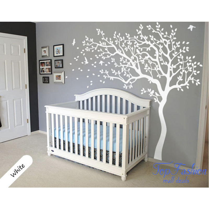 White Tree And Birds Wall Decal Nursery Art Murals Baby