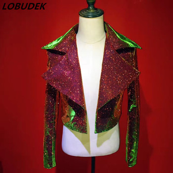 High end men's coat Sparkly Gold Powder Jacket Outerwear Punk Singer Stage Rock Costume Musical Vocal concert Dancer Star show