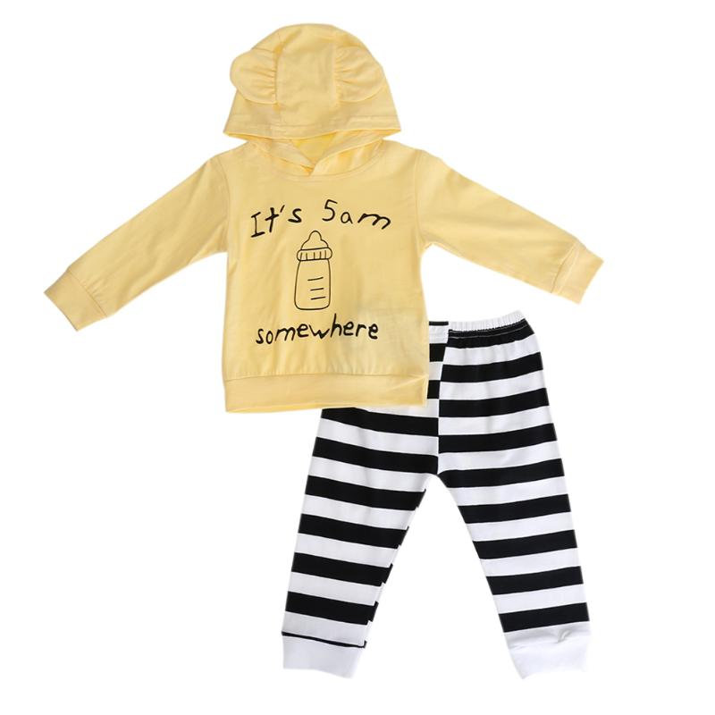 2pcs/Set Girls Casual Letter Nursing Bottle Clothes set Long Sleeve Pattern Top+Stripes Pants Outerwear Clothes Suit Bebes