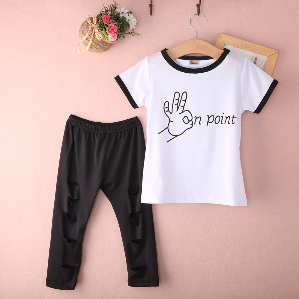 83129b004e0c4 Tops Ripped Pants Cut Trousers 2pcs Outfits Set 2PCS Cute Baby Kids Girls  Summer Clothes Sets Fashion Outfits 2 3 4 5 6 7 Years-in Clothing Sets from  Mother ...
