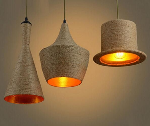 2016 Creative Loft Hemp Rope Shade Home Modern Dining Room Bar Shade Ceiling Hat Light Pendant Lamp Lighting free shipping