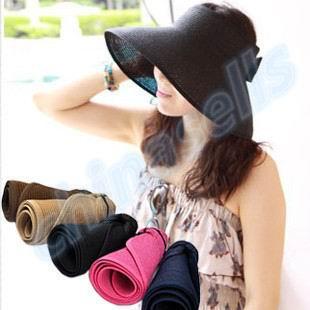 2e15581c761 50pcs women Travel vacation Beach Empty Top Hats cap visor straw hat lady summer  sunscreen folding Wide Large sun hat