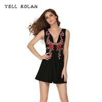 לצעוק רולן שמלת V העמוק צוואר פרחוני רקמת Vintage נשים הערב אלגנטי המפלגה השמלה השחורה 2018 קיץ קו חזק Vestidos