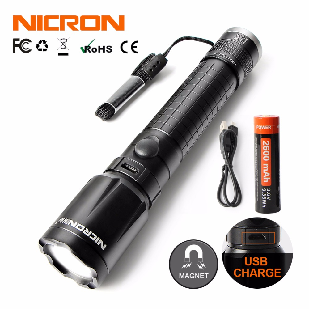 NICRON 5W Zoom USB Charging Aluminum Flashlight 350LM 2600mAh 18650 Li ion Rechargeable Battery With Strong