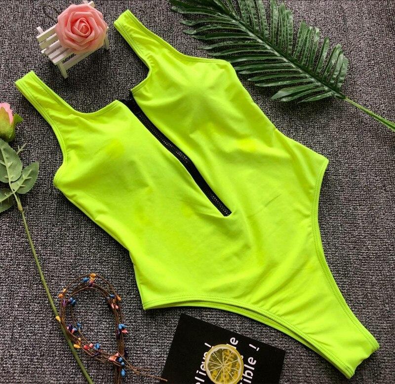 Solide zipper pièce maillot de bain sexy noir/vert body femme maillot de bain femmes maio feminino praia biquini une pièce maillots de bain