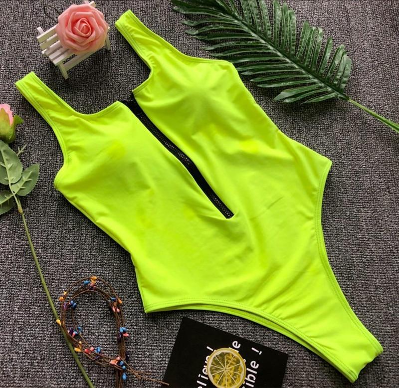 solid zipper piece swimsuit sexy black/green bodysuit female bathing suit women maio feminino praiabiquini one piece swimwear
