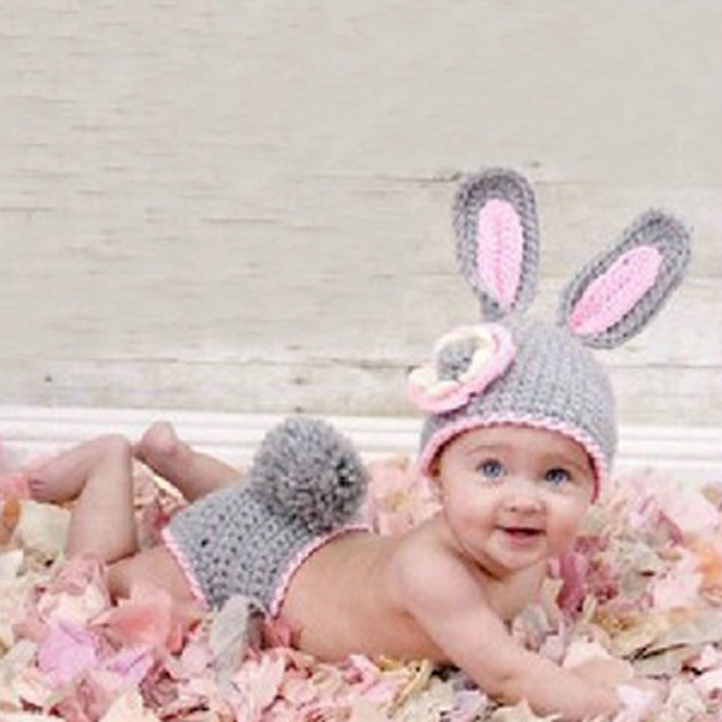 Rabbit Style Newborn Baby Photography Props 100% Knitted Costume Prop Outfits Photo Photography Baby Hat Photo Props Outfits Novel Design; In