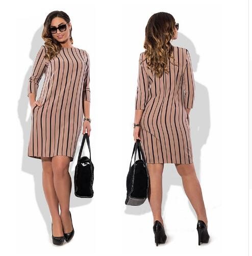 2018 Spring Summer Women Dresses Straight Dress Big Size 5XL 6XL Casual White Striped Women Clothing Vestidos
