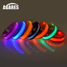 Беговая лампа спортивный светодиодный напульсник регулируемые светящиеся браслеты для бегунов Велосипедистов Езда Безопасность велосипед SA-8