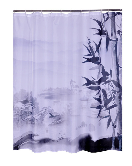 Bathroom Printed Polyester Fabric Bamboo Style Shower Curtains Liner Waterproof Machine Washable Bath 7272