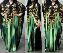 Fashion Vintage African Dresses For Women Embroidery Flower Bat Dleeve Print Maxi Summer Long Chffion Dress Robe Africa