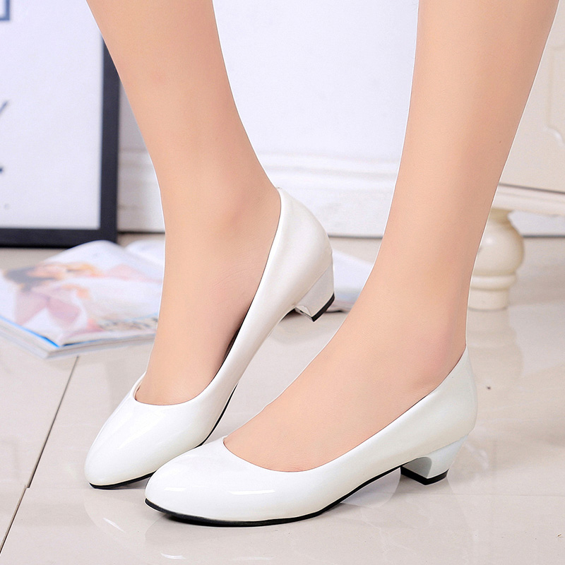 Big Size Spring Autumn White Wedding Shoes Womens Low heels Pumps Office Lady Dress Shoes Woman Boat shoes zapatos mujer 2017 spring genuine leather sheepskin shoes womens black white comfortable woman flat boat shoes buckle strap zapatos mujer 002k