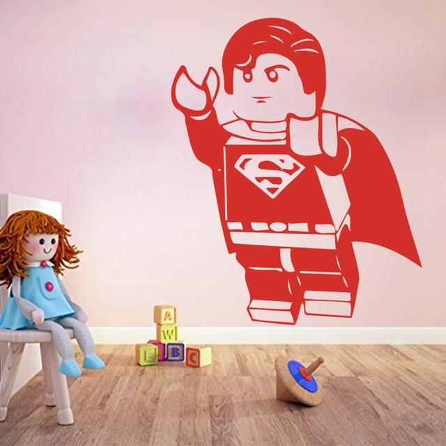 DIYWS Cartoon Lego Superman Wall Sticker Boy Room Kids Room Lego Superhero Wall  Decal Bedroom School