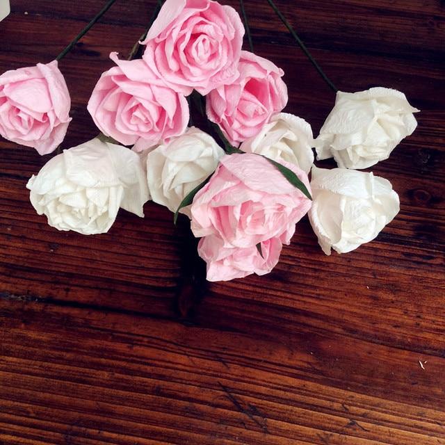 Wholes beautiful whitepink tissue paper rose flowers100pcs crepe wholes beautiful whitepink tissue paper rose flowers100pcs crepe paper rose flowers for wedding decoration mightylinksfo