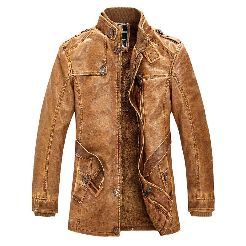 Стоячий воротник высокое качество кожаная куртка для мужчин Тонкий Теплый s промывают Кожаные Мотоциклетные байкерские куртк