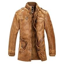 Новинка 2017 года Высокое качество кожаная куртка для Для мужчин тонкий теплый воротник стойка Искусственная кожа байкерская куртка