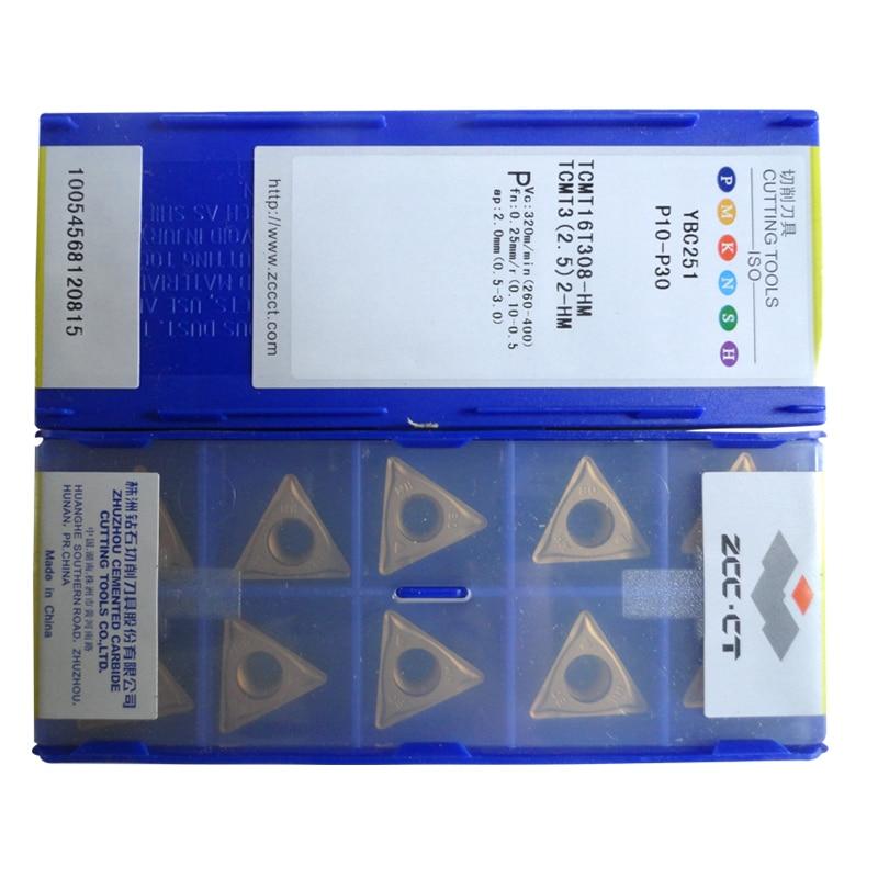 Free Shipping 50pcs ZCC CT insert TCMT 16T308 HM YBC251 ZCC inserts TCMT16 carbide tool TCMT16T308