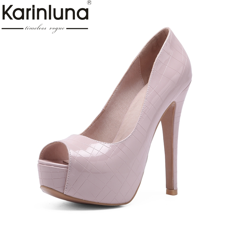 KarinLuna 2018 large size 33 44 office lady super thin high heels pumps shoes women platform
