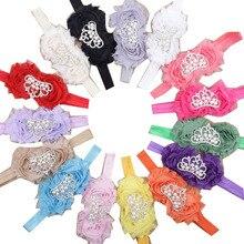 15pcs/lot Chiffon Silk Rosettes Jewelry Flowers Tiaras Crown Headband Baby Elastic Hair Band For Children Girls Hair Accessories