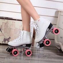 Roller Skates Double Line Skates White Women Female Models Adult Pink F1 Racing 4 Wheels Two line Roller Skating Shoes