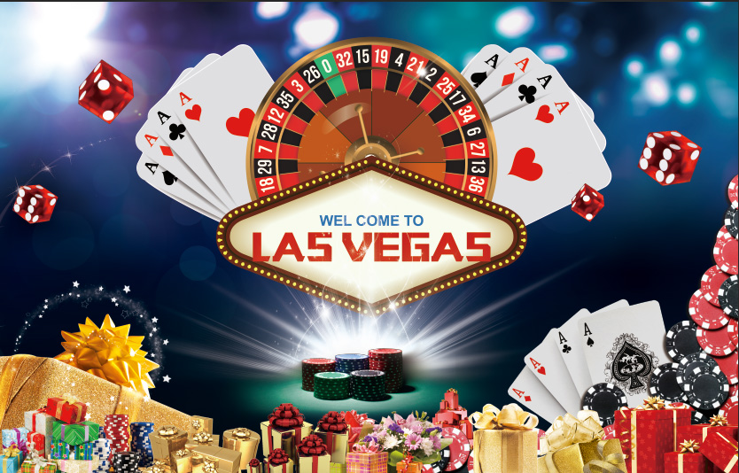 7x5FT Welcome to Las Vegas Casino Club Roulette Poker Cards Custom Photography Backgrounds Studio Backdrops Vinyl 220cm x 150cm(China)