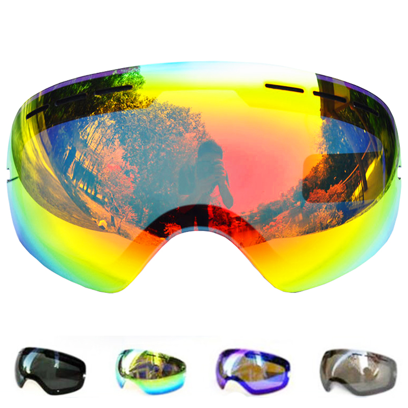 Lens For Ski Goggles Snow-3100 Anti-fog UV400 Large Spherical Snowboarding Eyewear Glasses