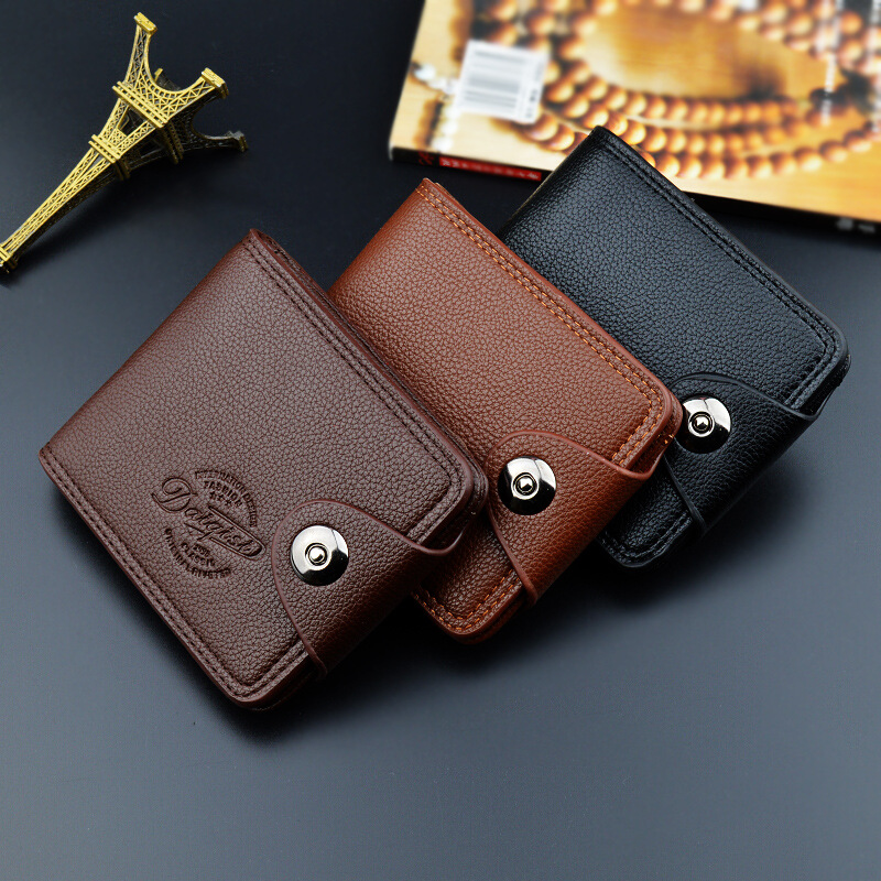 2019 Leather Vintage Wallet Men Credit Card Holders Hasp Short Men Wallets zipper pocket Men Purse Money Bag Male Cllutch W004(China)