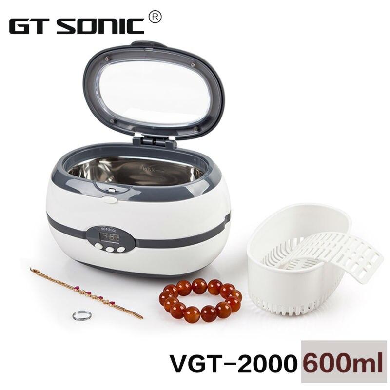 600ml VGT-2000 Мини ултразвуково почистване на бижута, инструмент за нокти, ушен инструмент, машина за почистване на протези с кошница и държач за часовници