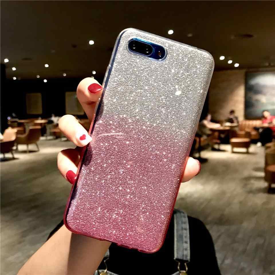 Glitter Gradient Case untuk Kehormatan 10 9 8 8X 7X 7A 5A Y6 Prime Y7 Y9 2018 Cover Tpu Cover untuk Huawei Mate 20 Pro P30 P20 Lite P10