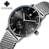 Fashion Simple Stylish Top Luxury Brand WWOOR Watches Men Stainless Steel Mesh Strap Band Waterproof Quartz