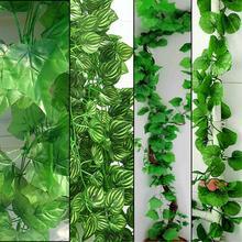 10pcs/lot 2.3M 4 Styles Artificial Ivy Leaf Hanging Garland Flower Vine for DIY Home Wedding Floral Wall Garden Decor