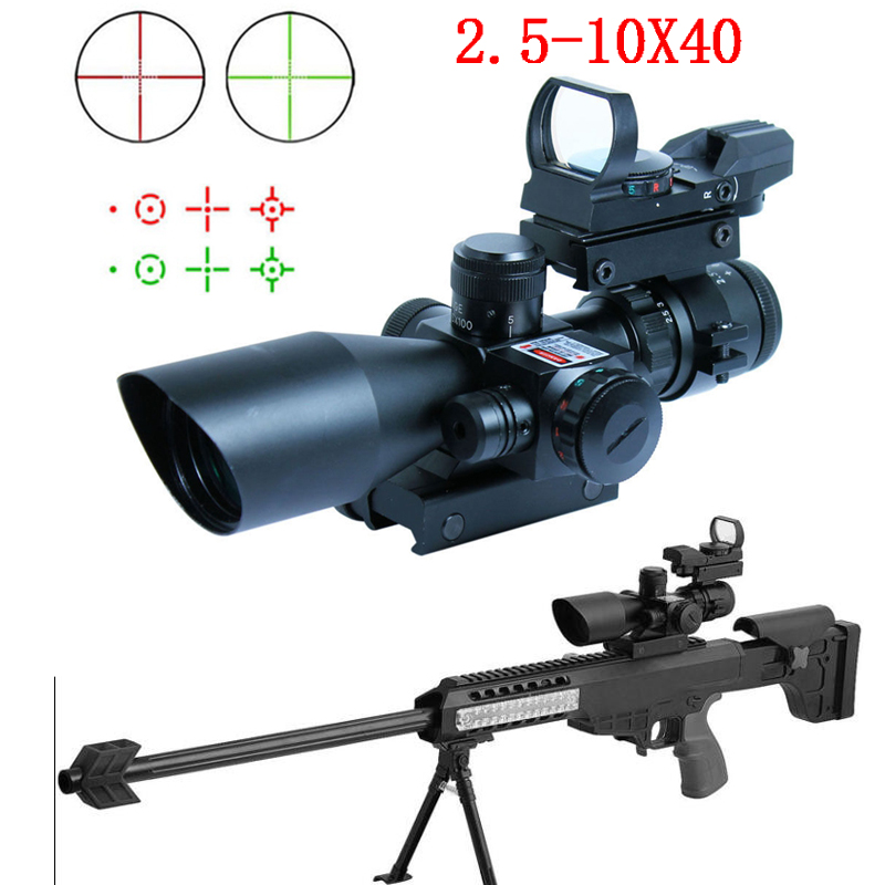 2.5-10X40 Hunting Tactical Riflescope w/ Red Laser & Holographic Green / Red Dot Sight Airsoft2.5-10X40 Hunting Tactical Riflescope w/ Red Laser & Holographic Green / Red Dot Sight Airsoft